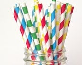 Kids Party Straws, Red, Blue, Yellow Green Paper Straws Multipack, Kids Birthday Party Decorations Primary Colors Stripe Straws Pollka dot