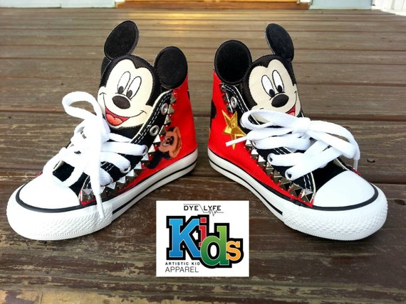 11576fddce60 Toddler Mickey Mouse Custom Converse.  mickey  mickeymouse  disney  bling   pearls