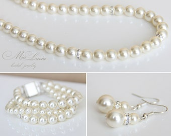 Wedding Jewelry Set, Swarovski Pearl Bridal Jewelry Set, Pearl Necklace Earrings Bracelet Set,  art. n39-b10-n18