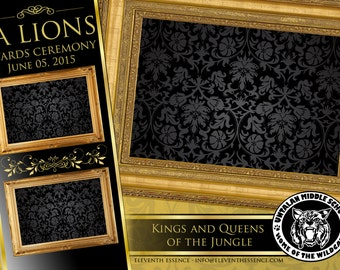 Photo Booth Design Layout Template Gold and Black Royalty Theme PSD File