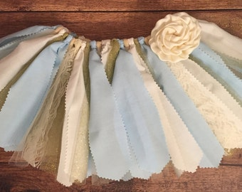 Light Blue, Ivory, and Gold Scrap Fabric Tutu