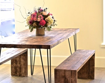 Solid Maple Hairpin Dinning Table With Chairs and Bench
