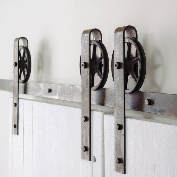 Double door vintage spoke industrial european sliding steel - Double rail coulissant ...