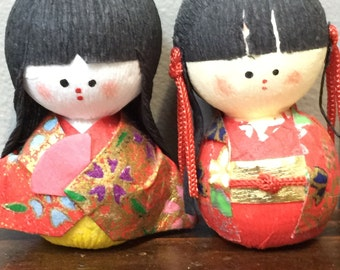 Cute Couple of Vintage Japanese Chiyogami Paper Dolls