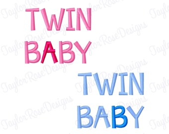 Twin Baby A & Twin Baby B Machine Embroidery Design 3x3 4x4 5x5 Twins INSTANT DOWNLOAD