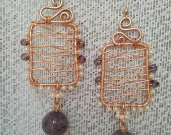 Wire earrings and murano glass bead