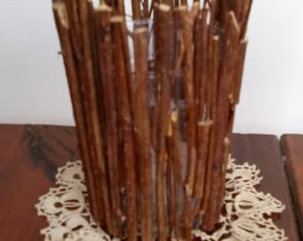 Glass Candle Holder with Wood Branches Woodland home decor