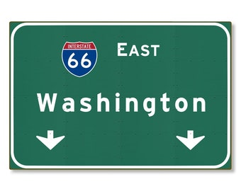 Washington Highway Sign Steel Wall Decor District of Columbia dc Interstate Souvenir Road Travel Replica METAL not tin 36x24 FREE SHIPPING