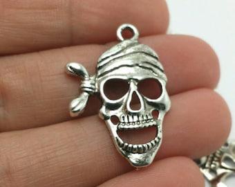 BULK 40 Pirate Skull Charms, Nautical Charms, Bulk Charms (5-1212)