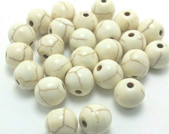 25 White Gemstone Beads, 8mm, Natural Ocean White Jade Beads (BE2078)