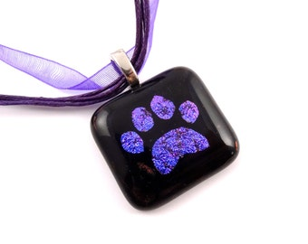 Hot magenta to Purple Paw Print necklace