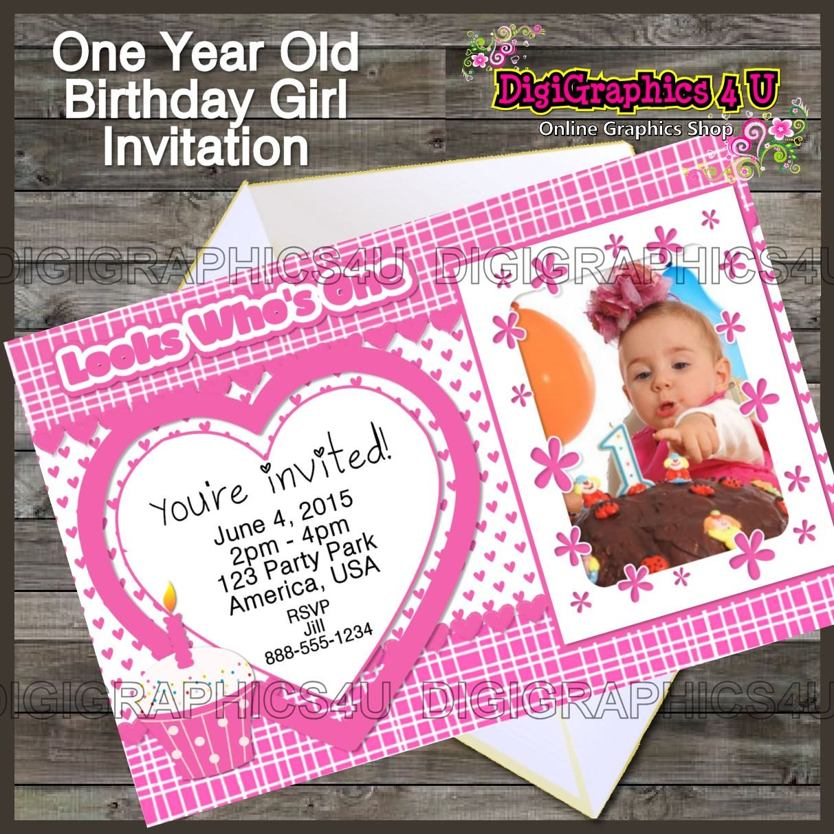 Printable One Year Old Birthday Girl Birthday By