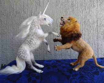 Lion Needle Felted wool Animal  by Carol Rossi Created Just For You!