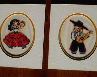 Vintage Spanish Fiesta Children Needlepoint - Spanish Children Needlepoint Pair - Children Needlepoint - Vintage Musical Child Needlepoint