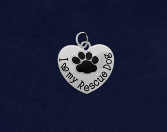 Wholesale I Love My Rescue Dog Heart Charms (25 Charms) (CHARM-10-P)