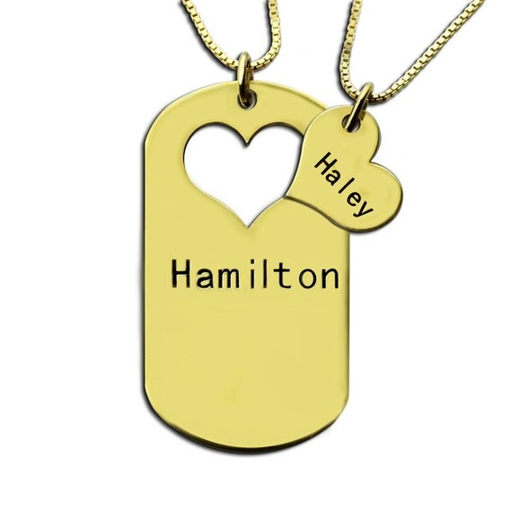 engraved couples dog tag necklace by themonogramnecklace on etsy