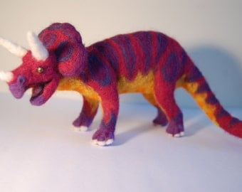 Needle felted triceratops sculpture
