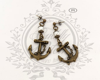 Earrrings with antique brass anchor pendant and white acrylic pearls - pin up rockabilly retro kawaii lolita vintage