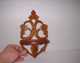 Antique Carved Leaves Small Wood Curio Shelf Foldable Victorian German 1800s Arts and Crafts German Rustic