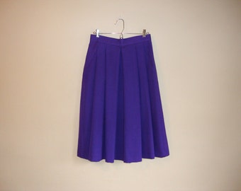 Vintage 70s High Waisted Midi Purple Pleat Skirt Sz S Leslie Erin Pockets