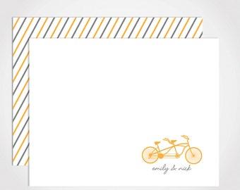Tandem Bike Stationery Set / Custom Stationery Set / Bicycle Notecard Set
