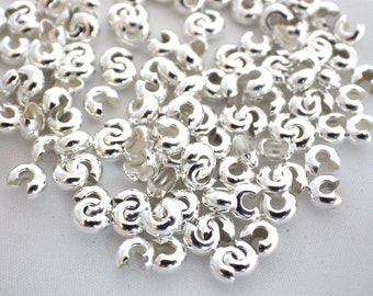 100 x Iron Silver Colour Crimp Covers 4mm