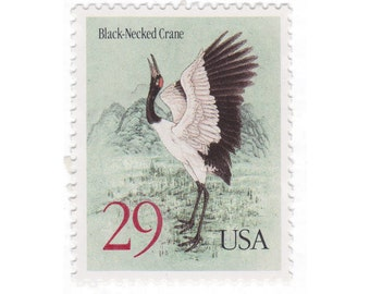 10 Unused Vintage Postage Stamps - 1994 29c Black-Necked Crane - Item No. 2867