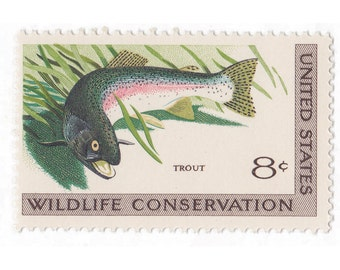 10 Unused Vintage Postage Stamps - 1971 8c Wildlife Conservation Trout - Item No. 1427