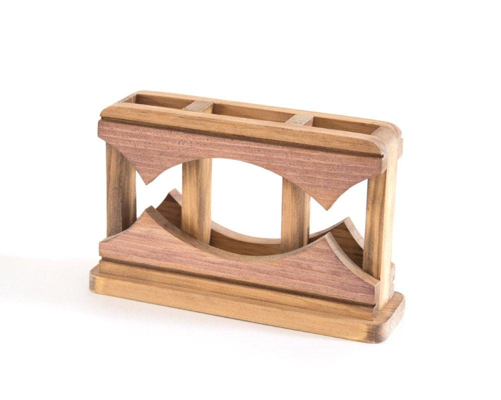 Pencil holder Desk caddy Wood desk organizer Home