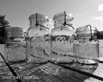Mason Jars in Black & White Print - Landscape Fine Art Photography