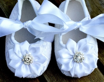 White Crib Shoes Set W/Any Color Flower of your Choice/Over 20 Colors/Christenings/Baptisms/Weddings/White Baby Shoes