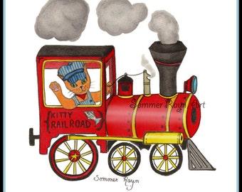 Train Engineer Kitty, riding a choo choo train, Cats, a whimsical card or print portrait,  Drawing, Item #0166a