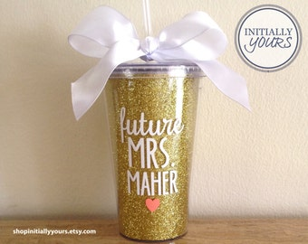 Future Mrs Glitter Acrylic Tumbler, Engagement Gift, Bride to Be, Wedding Gifts for Bride, Future Mrs Cup, Engagement Gift for Bride