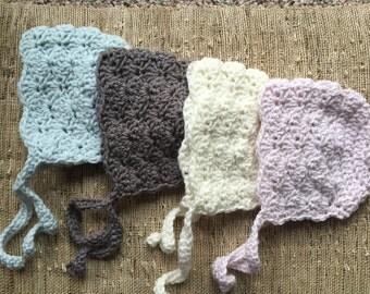 Crocheted baby bonnet, bonnet, baby gift, photo prop, newborn bonnet, baby girl