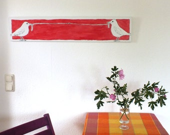 """Original Drawing, Birds Canvas Ink Painting, Red Drawing, Original Art OOAK Ink Drawing, Birds Art, Worm, Canvas 100 x 20 cm (39.4 x 7.9"""")"""