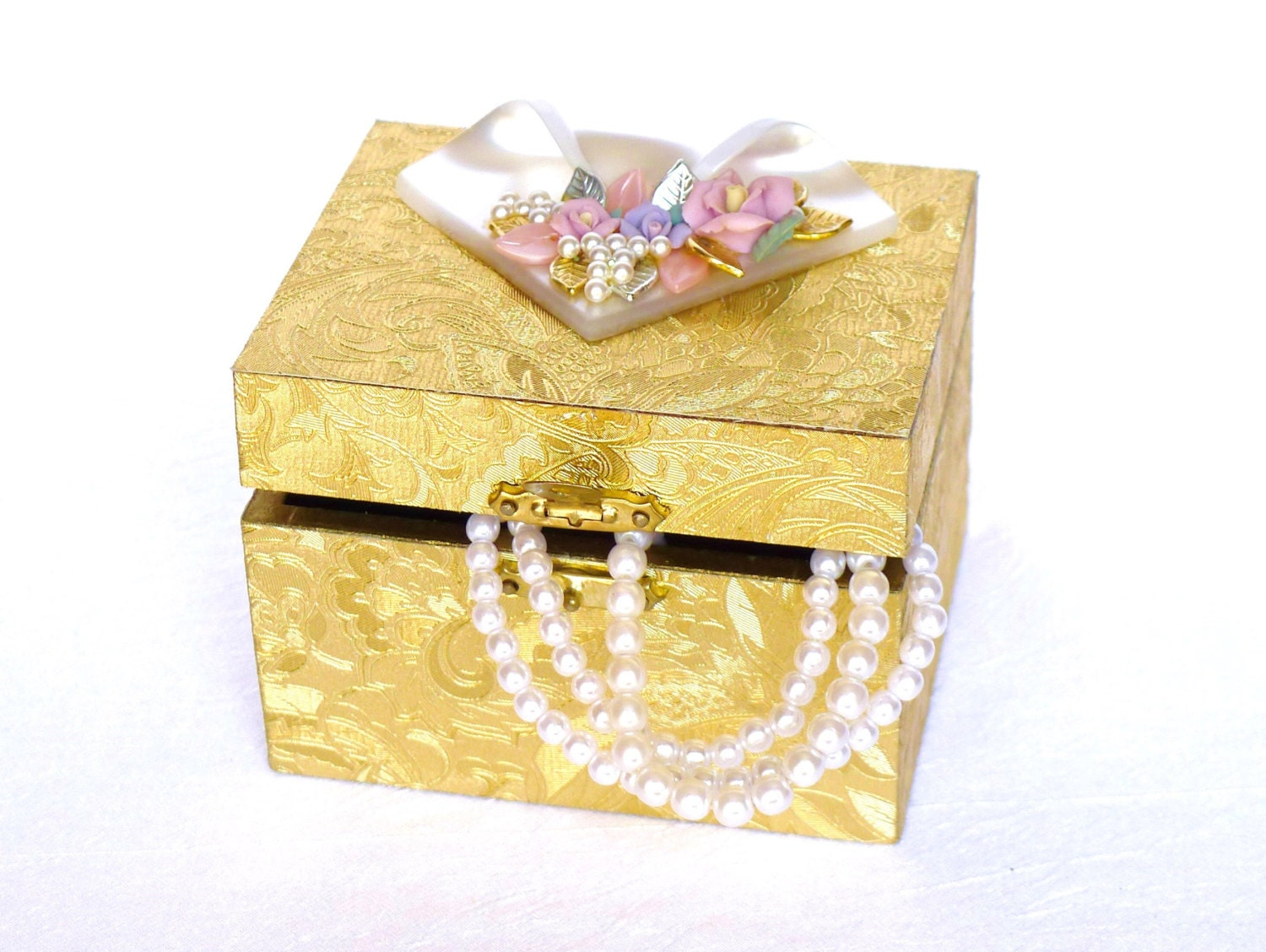 Gold Wedding Gift Box : Gift Box with Flower Top Gold Wedding Jewelry Box gold by LonasART