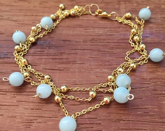 Amazonite Gold Chain Bracelet