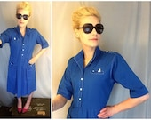 Vintage Cobalt Blue Dress Pleated and Short Sleeves made in USA Women's size Medium