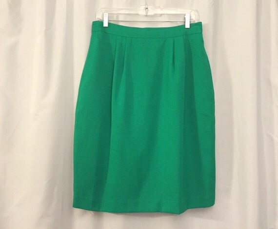 green pencil skirt vintage green s size 14 or