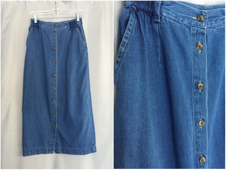 denim skirt vintage button front pencil skirt vintage