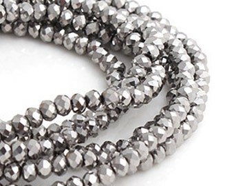 2mm Silver Opaque Crystal glass Rondelle  Faceted Beads - about  90pcs (C2011- FikaSupplies)