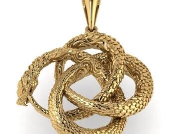 Ouroboros (Uroboros)  gold Pendant