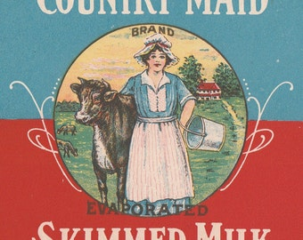 Country Maid Evaporated Skimmed Milk Can Label Henningsen Produce Portland, Oregon