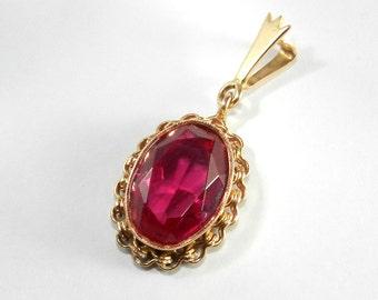 14k Gold Soviet Union Vintage Ruby Pendant