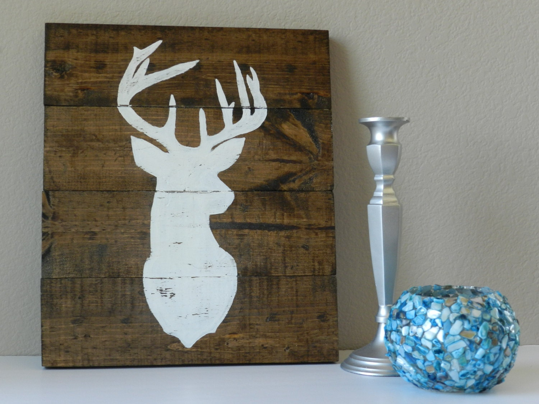 wood wall deer antlers sign hand painted rustic nursery