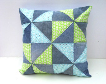 quilted green and denim pillow, throw pillow, repurposed denim throw pillow, denim cushion