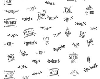 46 Catchwords // Word Art Clipart // Lettering Clipart // Ready To Use Words // Decorated Words // Commercial Use // Instant Download