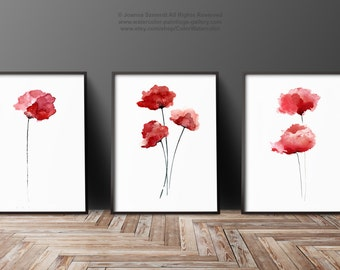 Red Poppies Set of 3, Abstract Flower Painting, Floral Gift Ideas, Poppy Home Decor, Flowers Art Print, Watercolor Wall Art