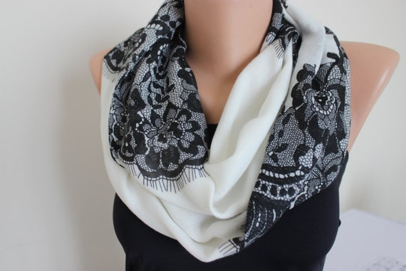 black white ivory evening scarves lace print scarf by