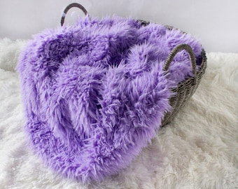 Faux Flokati Fur Lavender, Curly Faux Fur, Newborn Baby Photo Prop, Flokati Look, Faux Sheep Fur, Luxury Photo Prop,
